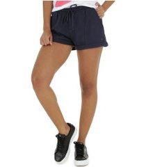 shorts de moletom oxer dalila fit - feminino - azul escuro