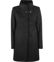fay black virgin wool blend coat