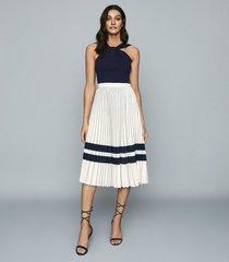 reiss annabelle - pleated midi skirt in cream/navy, womens, size 12
