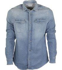 dondup blue medium denim shirt cotton