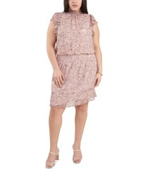 1.state plus size smocked printed flutter-sleeve dress