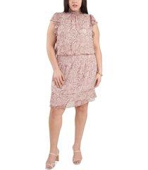 1.state plus size smocked printed flutter-sleeve dress