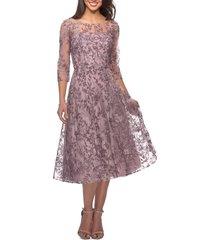 women's la femme lace cocktail dress, size 4 - purple