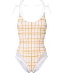 ambra maddalena blake check print swimsuit - white