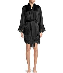 short lace-trim satin robe