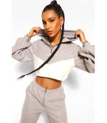 fleece contrast half zip woman embroidered hoodie, grey