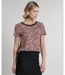 blusa feminina com estampa animal print manga curta decote redondo preta