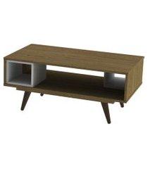 mesa centro retrô 45 rustik carvalho e branco olivar