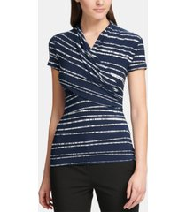 dkny petite ruched striped top
