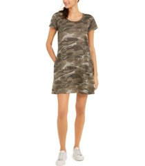 style & co cotton camo-print t-shirt dress, created for macy's