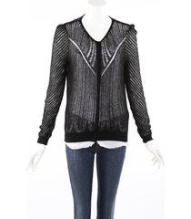 alexander mcqueen black wool silk knit cardigan sweater black sz: xl