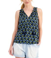 style & co plus size sleeveless floral-print cotton top, created for macy's