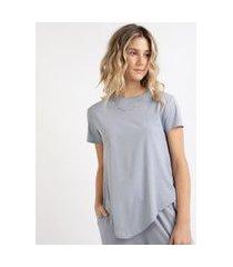 camiseta de algodão básica com nó manga curta decote redondo azul