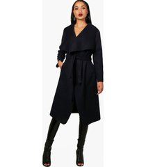 belted waterfall coat, navy