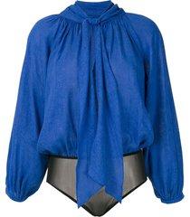 andrea marques raglan sleeves bodysuit - blue