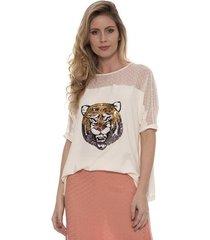 blusa bisô tigre feminina
