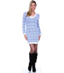 white mark women's angora like sweater dress