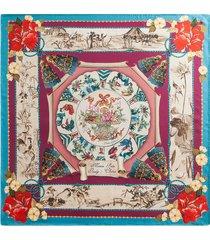dolce & gabbana silk road-print silk-twill scarf - purple