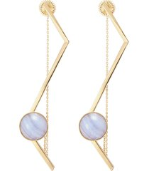 'fliegt' lace agate magent angular bar earrings