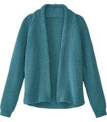 grof gebreid vest van bio-scheerwol zonder sluiting, smaragd 44
