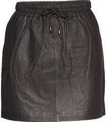 skirt with smock waist kort kjol svart depeche