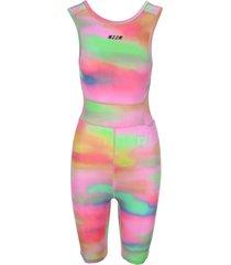 msgm active logo tie-dye stretch jumpsuit