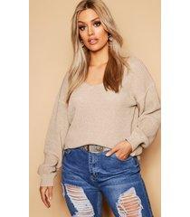 plus oversized v neck sweater, sand