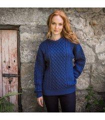 traditional ladies aran sweater denim xl