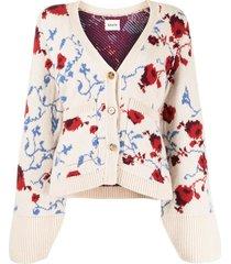 scarlet floral jacquard cashmere cardigan