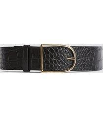 reiss isabelle - leather croc patterned waist belt in black, womens, size l
