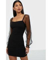 parisian sheer sleeve square neck dress skater dresses