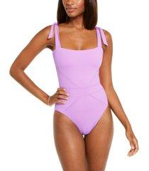 becca color code solid tie shoulder one-piece swimsuit women's swimsuit