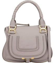 chloé marcie small shoulder bag in grey leather