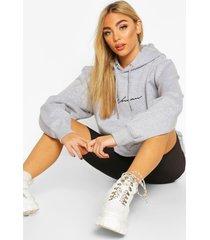 woman signature oversized hoodie, grey marl