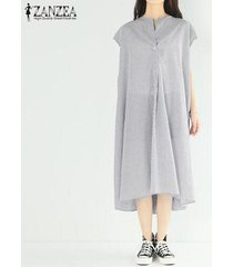 zanzea las mujeres de manga corta de verano sundress largo ocasional camisa de vestir de vestido a media pierna raya -negro