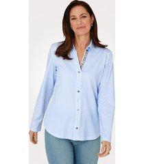 jersey blouse justwhite lichtblauw::wit