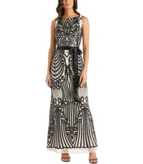 r & m richards petite two-tone embellished gown