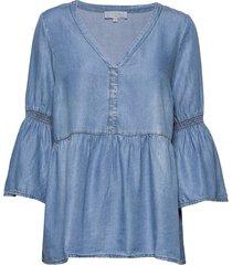vincacr boho blouse blouse lange mouwen blauw cream
