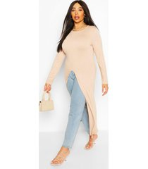 plus front split maxi top, stone
