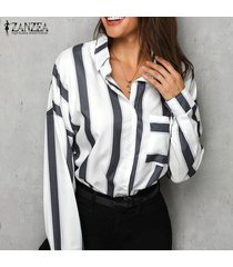 zanzea mujer botones de manga larga camisa casual tops blusa suelta solapa plus -blanco