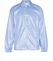 comme des garçons shirt striped coated shirt jacket - blue