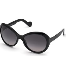 moncler 60mm oversize round sunglasses in shiny black/smoke gradient at nordstrom