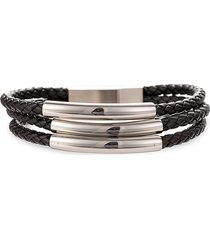 eye candy la men's jaxon titanium & leather bracelet