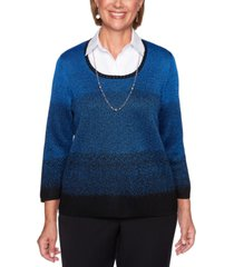 alfred dunner petite ombre layered-look sweater
