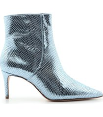 bette bootie - 7.5 wonder blue metallic crocodile effect leather