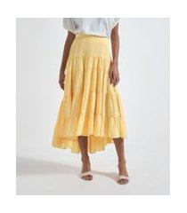 saia midi lisa com camadas fluídas | a-collection | amarelo | pp