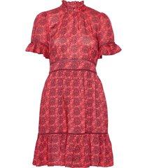 printed dress with ladder lace kort klänning röd scotch & soda