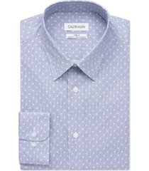 calvin klein men's steel classic/regular-fit non-iron performance stretch floral tile-print dress shirt