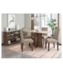 mesa ana 120 cm com aparador vanessa castanho off white 04 cadeiras ana castanho tl13 new ceval