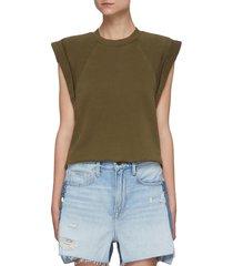 roll up sleeveless crop sweatshirt